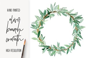 Olive Branch Wreath Hand Painted