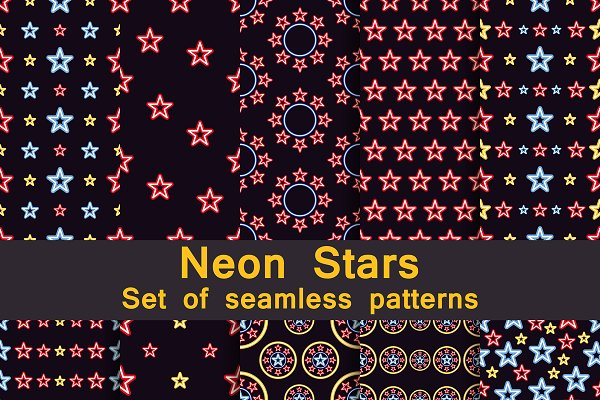 Neon stars seamless pattern set