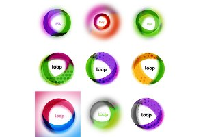 Set of loop, infinity business icons, abstract concept created with transparent shapes and blurred effects