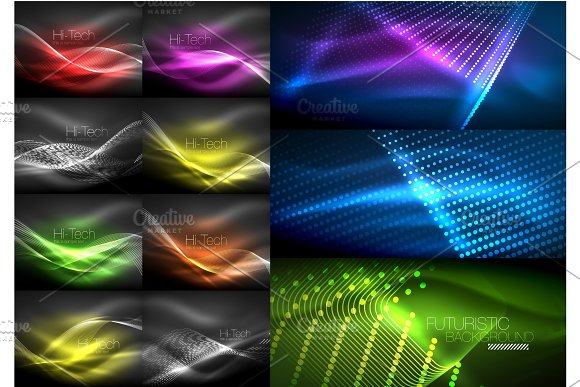 Set Of Continuous Neon Waves In Dark Night Backgrounds With Lights Abstract Magic Shining Templates
