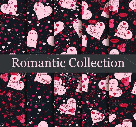Romantic Seamless Pattern Set