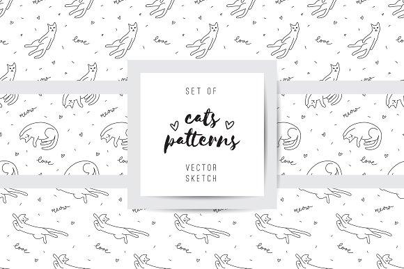 Cats 9 Seamless Patterns