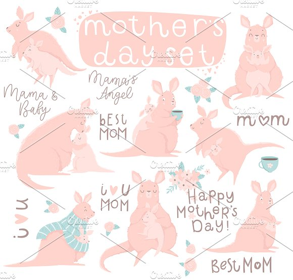 Mother's Day Set With Cute Kangaroo