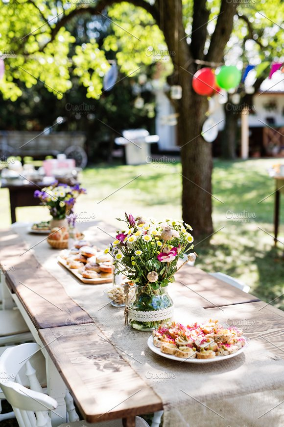 Table Set For A Garden Party Or Celebration Outside