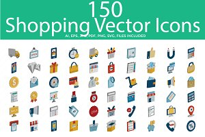 Shopping Color Vector Icons Set