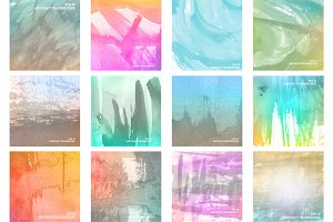 Abstract colorful watercolor set