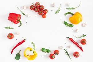 Healthy food on white background