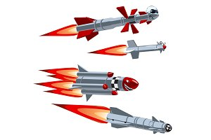 Cartoon military missile set