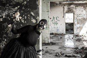 The girl in a gas mask. The threat