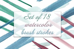 Set of 18 watercolor brushes