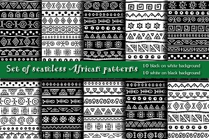African seamless patterns set