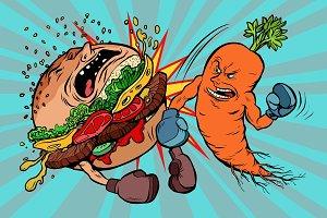 carrots beats a Burger, vegetarianism vs fast food