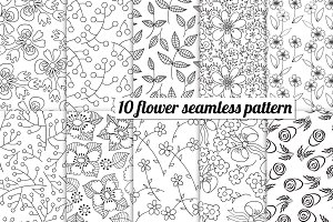 10 flower seamless pattern