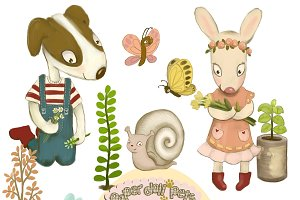 Garden Clipart dog, bunny, plants