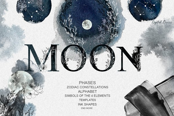 fhases MOON; zodiac constellations