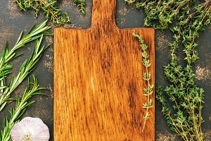 Empty cutting Board and frame herbs