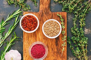 thyme, rosemary and spices