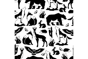 Seamless pattern with woodland forest animals and birds. Stylized illustration