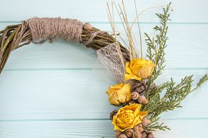 Wreath from a vine with roses.