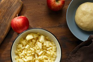 Ingredients cooking apple strudel