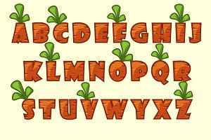 Vector Cartoon carrot font