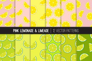 Vector Lemonade and Limeade Patterns