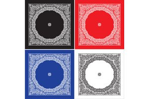 Set Of 4 Paisley Bandana's III