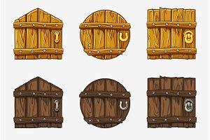 Cartoon Wooden Door, vector assets For Ui Game