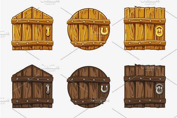 Cartoon Wooden Door Vector Assets For Ui Game