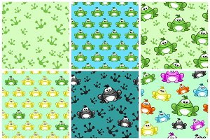 Cartoon seamless pattern from Frogs