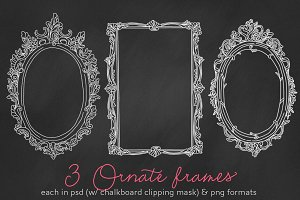 3 Ornate frames/labels chalkboard PS