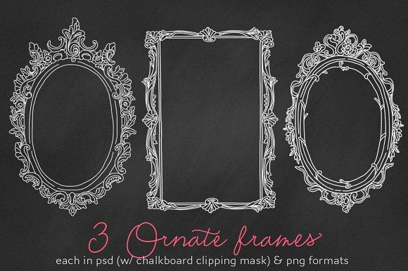 3 Ornate frames/labels chalkboard PS ~ Illustrations ~ Creative Market