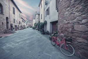 Ancient Italian town in twilight