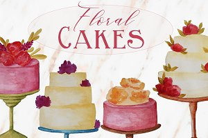 Watercolor Floral Cakes