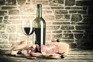 Wine, cheese and meat
