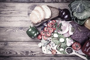 Fresh meat, vegetables