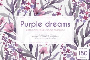 Purple dreams. Watercolor cliparts.