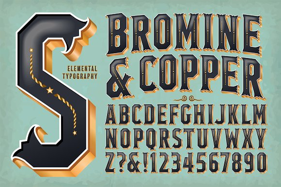 Lettering Design Bromine Copper