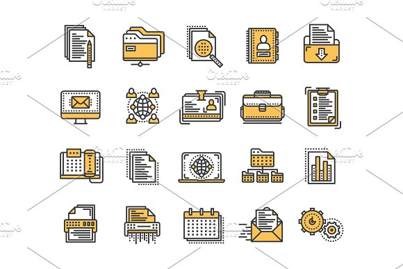 Business And Office Work Documents Paperwork Businessman Thin Line Yellow Web Icon Set Outline Icons Collection Vector Illustration