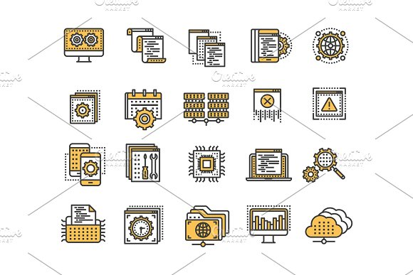 Seo And App Development Search Engine Optimization Internet E-commerce.Thin Line Yellow Web Icon Set Outline Icons Collection Vector Illustration