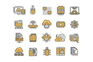 Cloud computing. Internet technology. Online services. Data, information security. Connection. Thin line yellow web icon set. Outline icons collection.Vector illustration.