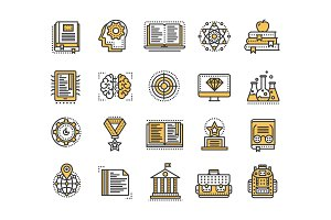School education, university. Study, learning process. Oline lessons, tutorial. Student knowledge. History book.Thin line yellow web icon set. Outline icons collection.Vector illustration.