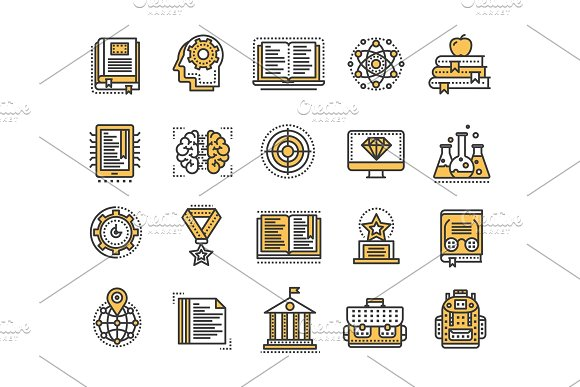 School Education University Study Learning Process Oline Lessons Tutorial Student Knowledge History Book.Thin Line Yellow Web Icon Set Outline Icons Collection.Vector Illustration