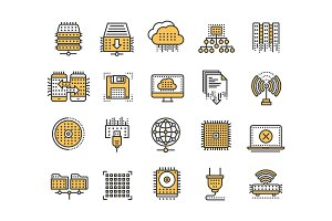 Cloud computing. Internet technology. Online services. Data processing, information security. Connection. Thin line yellow web icon set. Outline icons collection.Vector illustration.