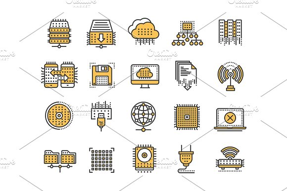 Cloud Computing Internet Technology Online Services Data Processing Information Security Connection Thin Line Yellow Web Icon Set Outline Icons Collection.Vector Illustration