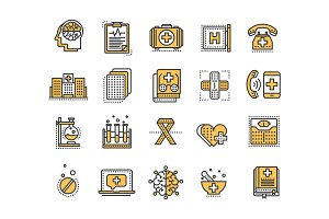 Health care, medicine. First aid. Medical blood tests and diagnostic. Heart cardiogram. Pills and drugs.Thin line yellow web icon set. Outline icons collection.Vector illustration.