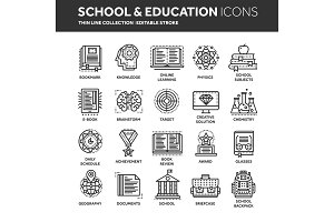 School education, university. Study, learning process. Oline lessons, tutorial. Student knowledge. History book.Thin line black web icon set. Outline icons collection.Vector illustration.