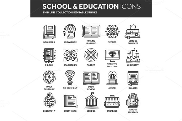 School Education University Study Learning Process Oline Lessons Tutorial Student Knowledge History Book.Thin Line Black Web Icon Set Outline Icons Collection.Vector Illustration