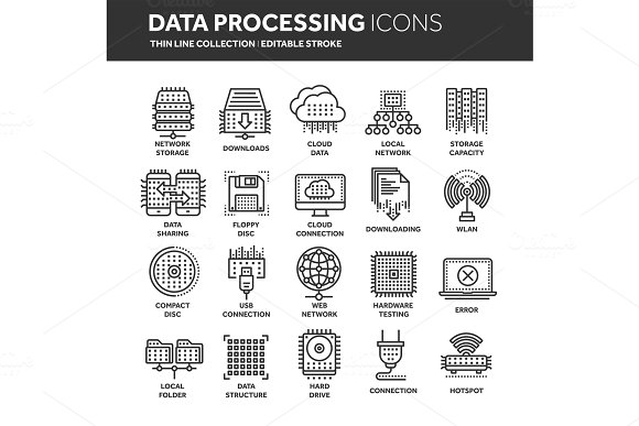 Cloud Computing Internet Technology Online Services Data Information Security Connection Thin Line Black Web Icon Set Outline Icons Collection.Vector Illustration