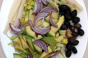 Fresh vegetables salad with avocado
